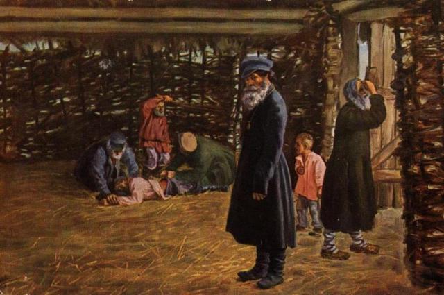 Н. В. Орлов «Недавнее прошлое» (Перед поркой), (1904).