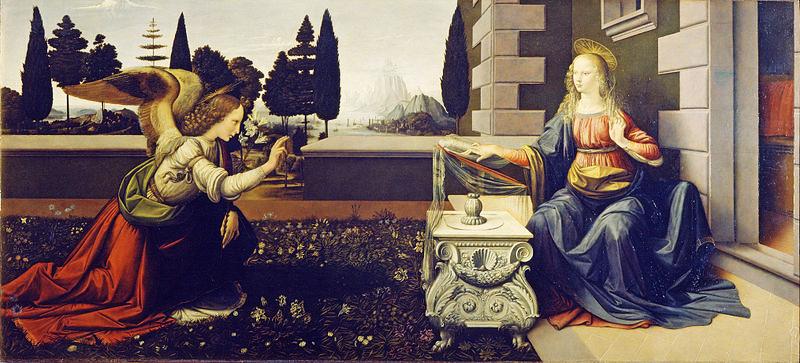 Картина Леонардо да Винчи. 1472 1475. Уффици, Флоренция