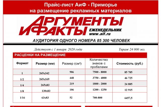 Прайс на размещение в газете АиФ-Приморье