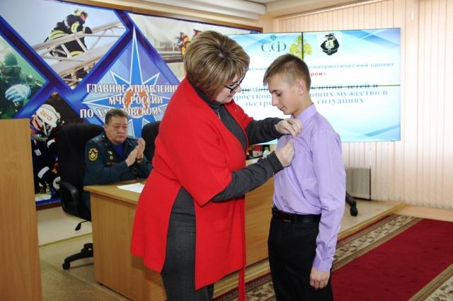 Награждение 14-летнего героя Артёма Гилёва из Хабаровского края.