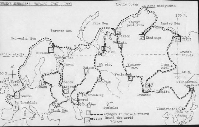 Карта двух десятков путешествий Смургиса
