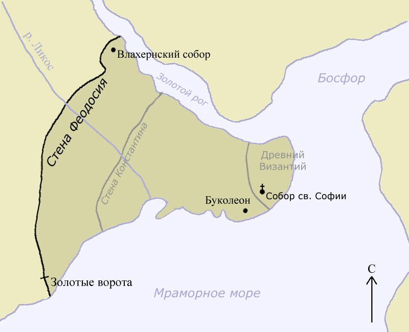 План стен Константинополя.