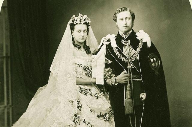 Свадебная фотография Александры и Альберта Эдуарда.