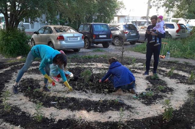 Процесс создания детского огорода.
