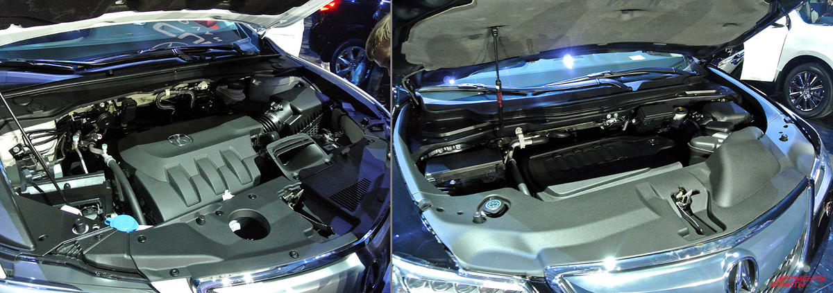И на RDX (слева) и MDX силовой установкой является один из лучших двигателей новый 3,5-литровый i-VTEC SOHC c непосредственным впрыском и системой выборочной деактивации цилиндров VCM (Variable Cylinder Management). Для младшей модели он дефорсирован