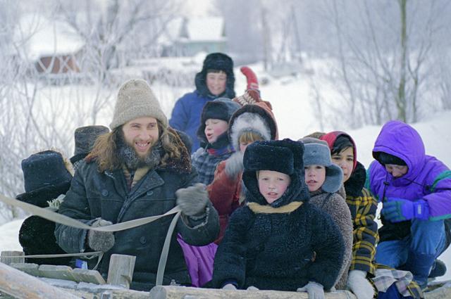 Дети, деревня, зима