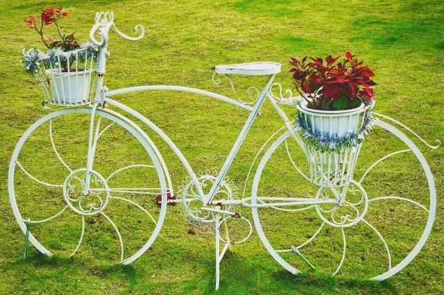 Как вам такое? Велосипед с цветочными горшками.