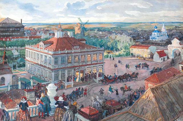 «В Немецкой слободе — отъезд Петра I из дома Лефорта», Александр Бенуа, 1909 г.