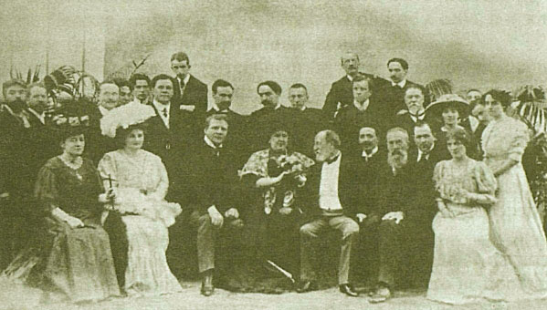 Участники Русских исторических концертов в Париже в гостях у композитора Сен-Санса. Париж, 1907 год