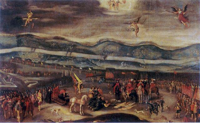 Капитуляция осадной армии Шеина перед королём Владиславом (Триумфальная картина, неизвестный польский художник).