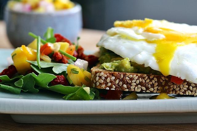 завтрак, яйца, еда, блюдо