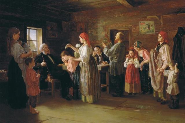 В крестьянских семьях всегда было много детей.