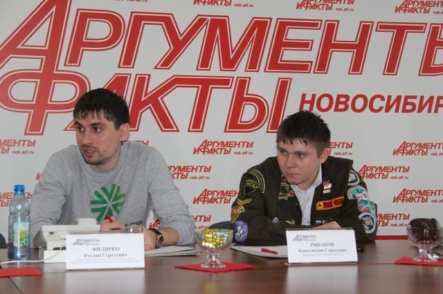 Руслан Фидирко, председатель Новосибирского регионального отделения МООО «РСО»  и Константин Рыбаков, командир студенческого отряда «Ермак»
