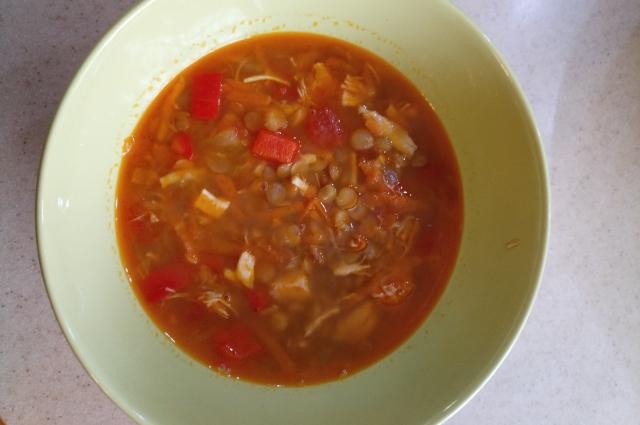 Суп с чечевицей.