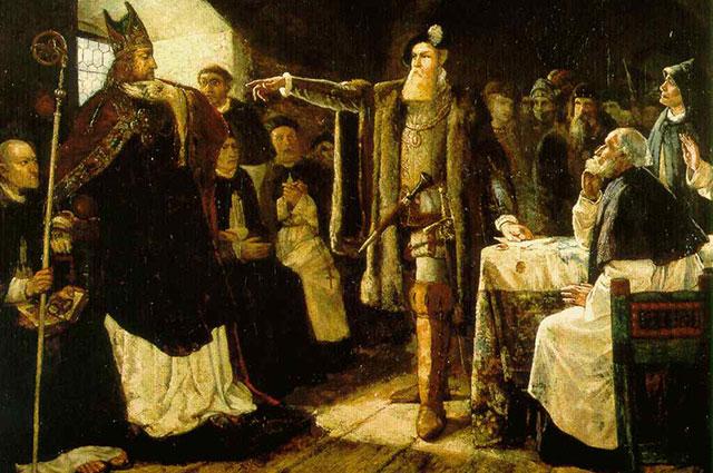 Гельквист, «Собор епископов в Вестеросе» (Густав Васа обличает епископа Зуннанведера в измене).