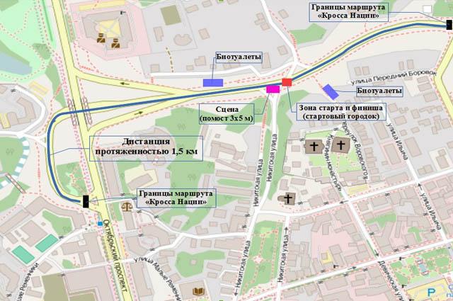 Схема проведения Всероссийского дня бега «Кросс нации» во Владимире