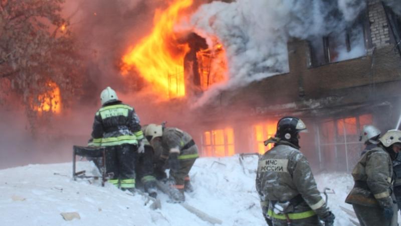Пожар на радиозаводе в Барнауле.