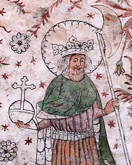 Король Норвегии Олав II Святой на фреске в одной из шведских церквей.