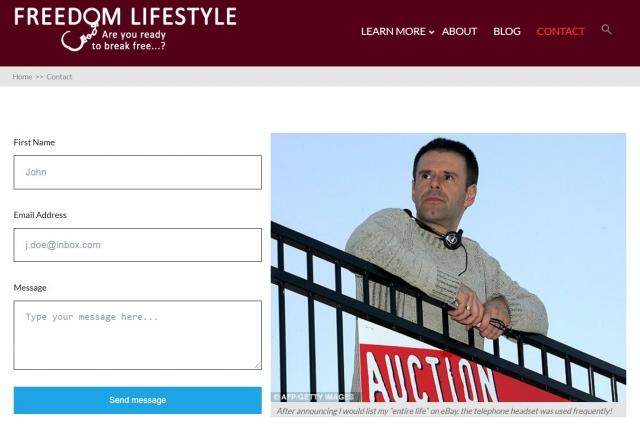Скриншот с сайта Йена Ашера, продавшего свою жизнь.