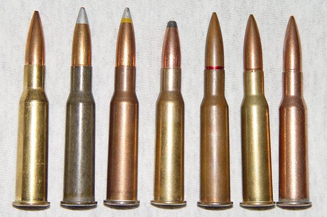Патроны 7,62×54 мм R в ассортименте (поздняя модификация с остроконечными пулями, изначально пули были с круглыми носками).