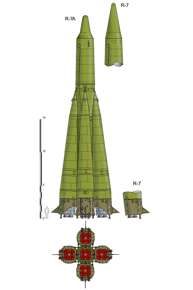 Первые МБР Р-7А и Р-7 конструкции С. П. Королёва