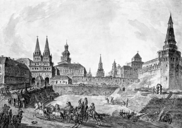 Часть фасада Московского университета и Кремлёвской стены. Акварель художника Ф. Я. Алексеева