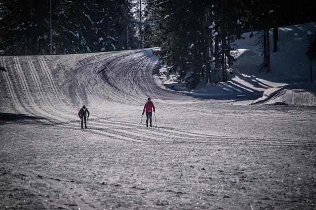 Катание на лыжах.