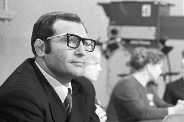 Chief editor of the main editorial office of sports programs of the Central Television and Radio Broadcasting of the USSR, world champion in freestyle wrestling Alexander Vladimirovich Ivanitsky, 1973