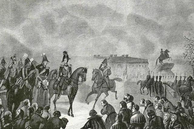 Император Николай I на Сенатской площади 14 декабря 1825 года. Гравюра