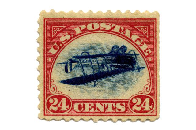 Почтовая марка Перевернутая Дженни
