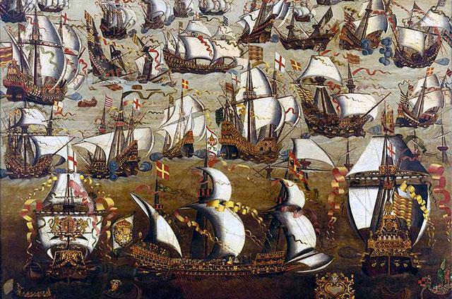 Сражение «Непобедимой армады» с английским флотом. Неизвестный художник. (XVI век)