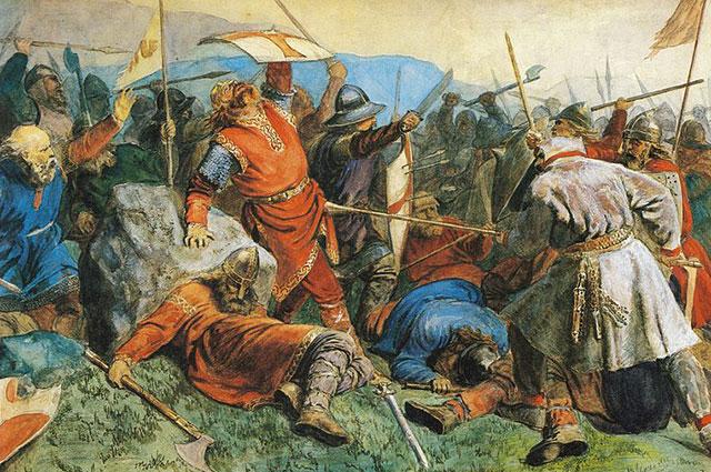Смерть святого Олава в битве при Стиклестаде, 1859 г. Художник Петер Николай Арбо.
