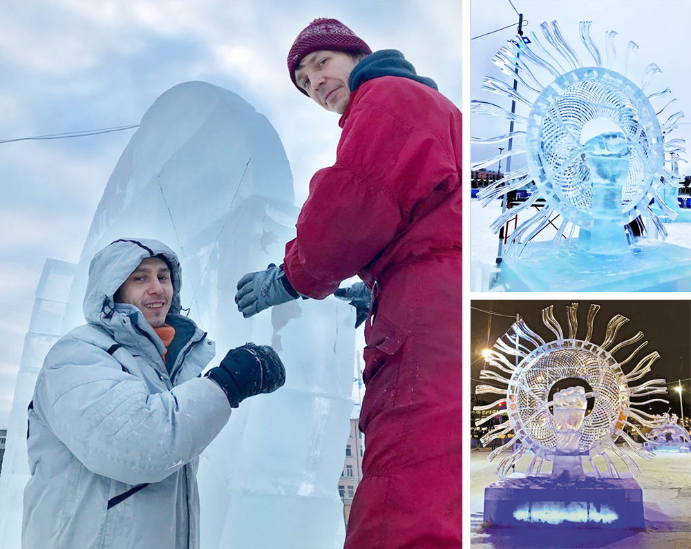 Во время работы в эскиз были внесены изменения. В результате скульптура Павла Соловьёва (слева) и Александра Савинова была признана лучшей на Рождественском турнире Кубка России.