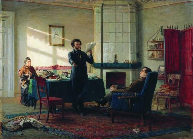 Художник изобразил встречу Александра Пушкина и Ивана Пущина.