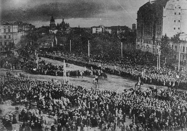 Торжественное провозглашение акта воссоединения УНР и ЗУНР в Киеве на Софийской площади 22 января 1919 г.