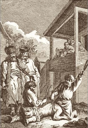 Наказание батогами. Из книги аббата Chappe d Auteroche Voyage en Siberie 1761 г. (Amsterdam 1769 г.)