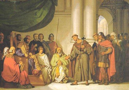 Пётр Пустынник у византийского императора Алексея Комнина