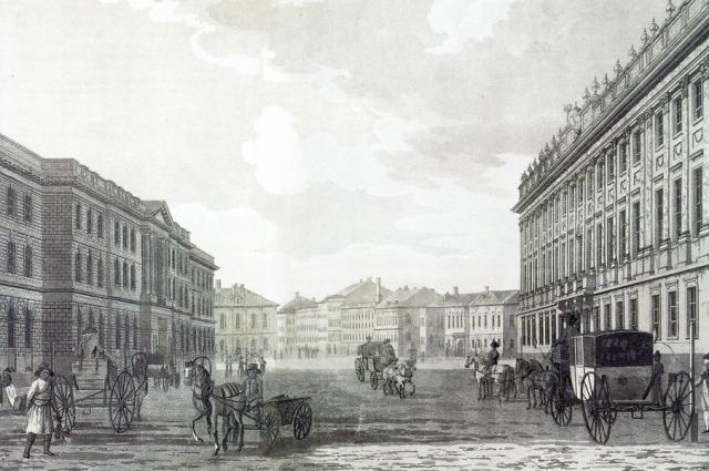 Вид Миллионной улицы. Гравюра Т. Малтона 1790 года. Слева, напротив Мраморного дворца, видно здание Ломбарда и Воспитательного дома, выстроенное Ю. Фельтеном в 1779 году.