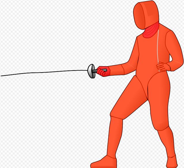 Красным цветом выделены области, уколы в которые засчитываются при фехтовании на шпагах