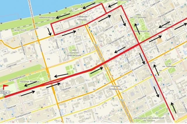 Схема маршрута марафона, полумарафона и дистанции на 10,5 км.
