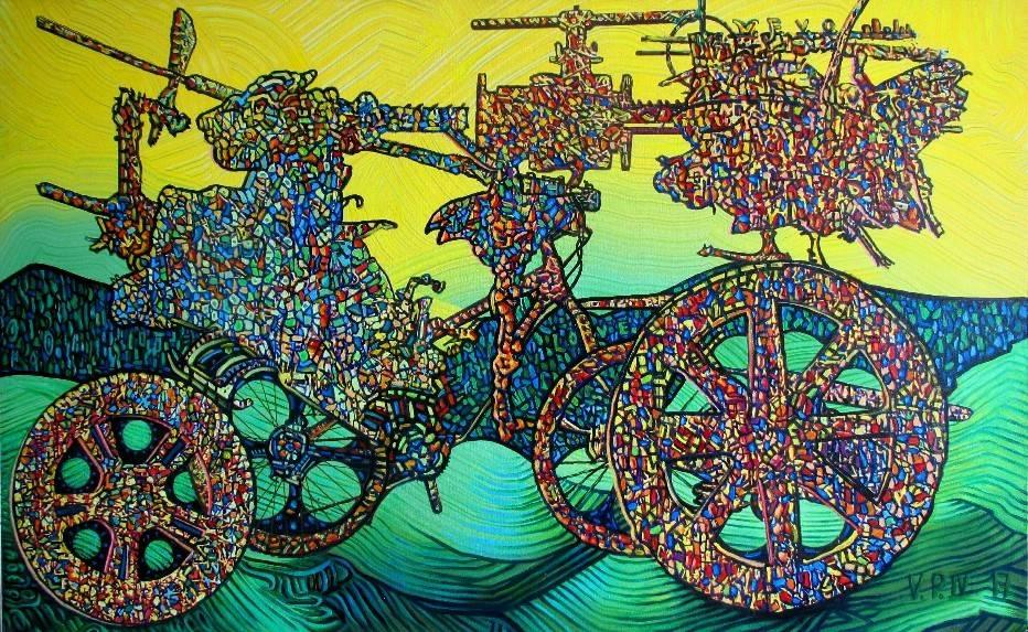 В его картинах краски и штрихи смешаны как стёклышки в калейдоскопе.