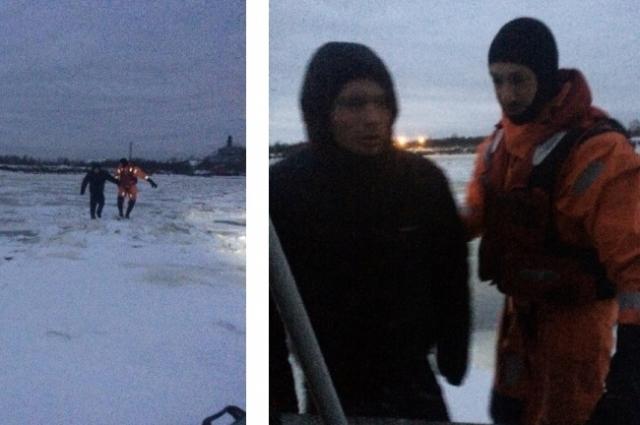 Спасатели доставили промокшего мужчину до врачей скорой помощи.