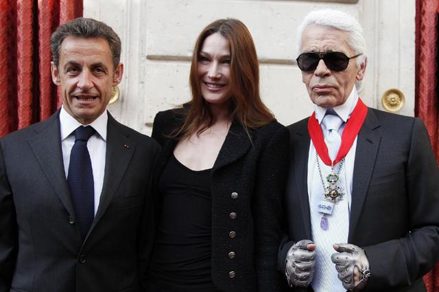 Карла Бруни, Николя Саркози и Карл Лагерфельд.