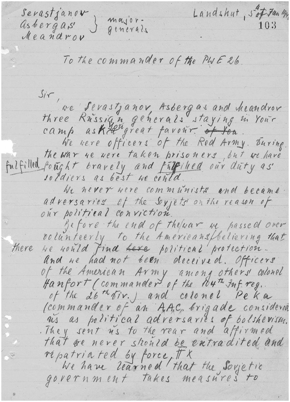 Письмо Асбергаса (Арцезо), Меандрова и Севастьянова в адрес американского командования, 5 января 1946 года.