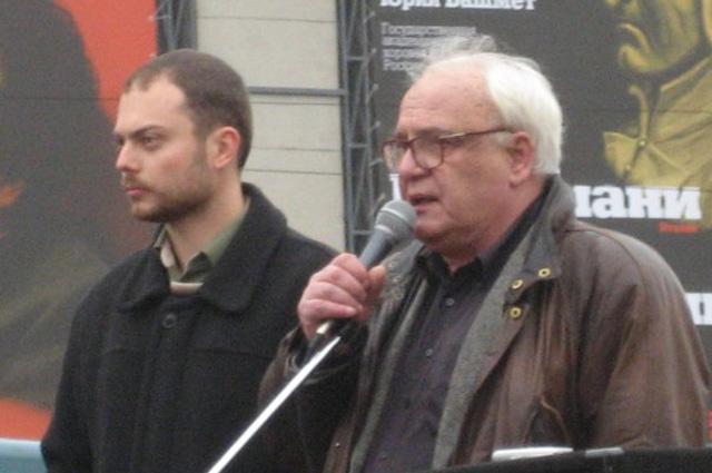 В. Буковский и В. Кара-Мурза на «Митинге свободных людей» на Триумфальной площади в Москве 20 октября 2007 года