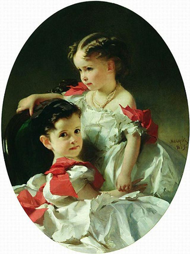 Софья Перовская с сестрой Марией. Картина И. К. Маркова, 1859 г.