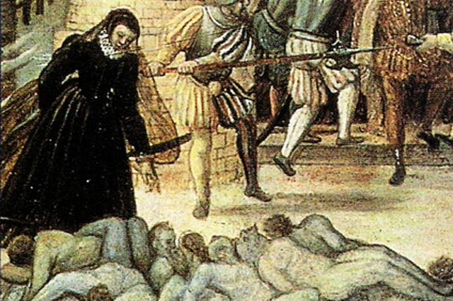 Фрагмент картины Франсуа Дюбуа: Екатерина Медичи смотрит на тела.