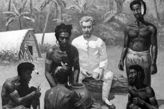 Репродукция картины «Миклухо-Маклай среди папуасов» работы художника Л. Успенского.