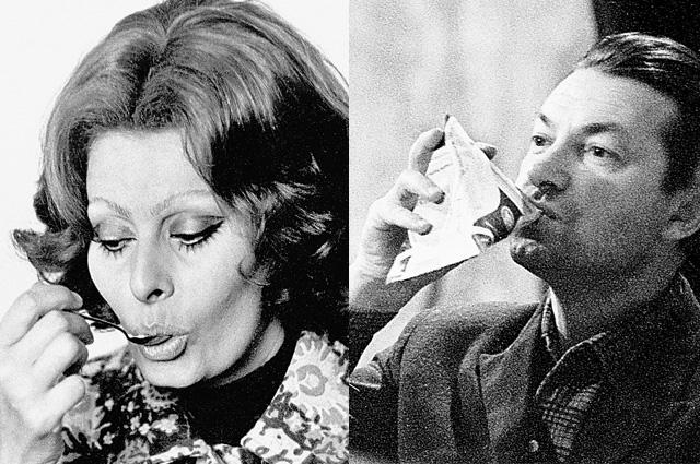Софи Лорен к чаю подали конфеты из спецбуфета, а Георгий Вицин на съёмках «Кабачка «13 стульев» подкреплялся кефиром.