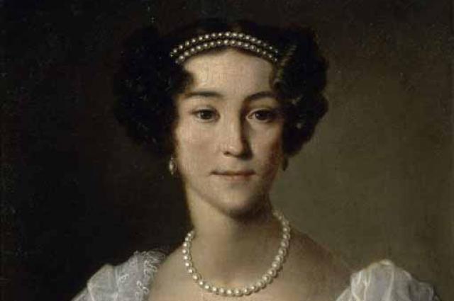 Анна Орлова с фрейлинским шифром Елизаветы Алексеевны (неизвестный художник н. XIX века)